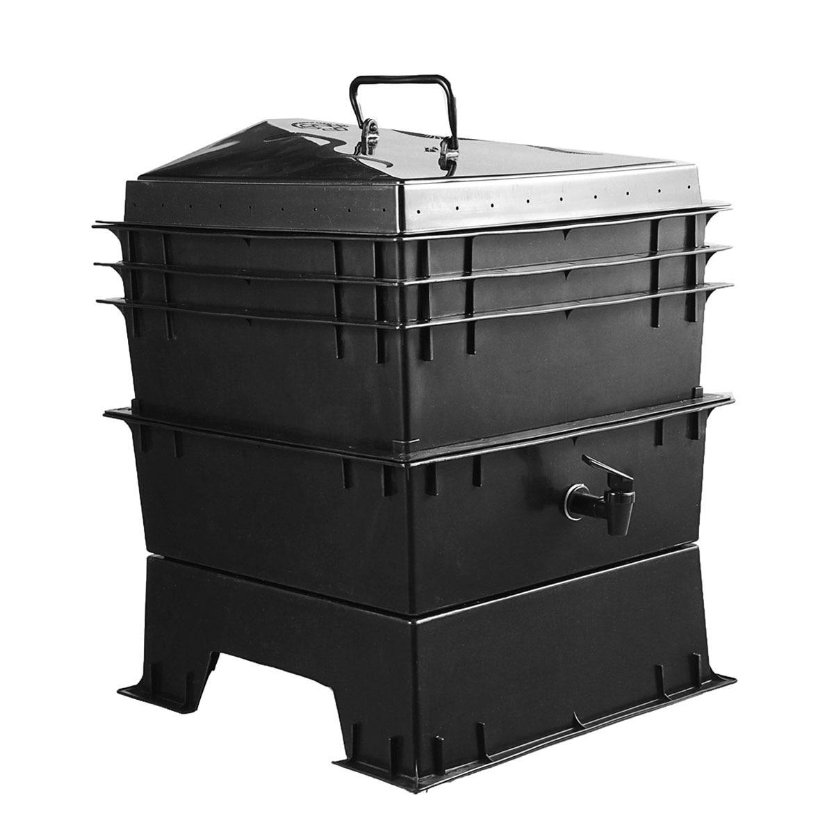 80L cuisine déchets terre ver Compost boîte PP bricolage composteur usine de vers de terre composteur maison ver de terre fumier et seaux de sol
