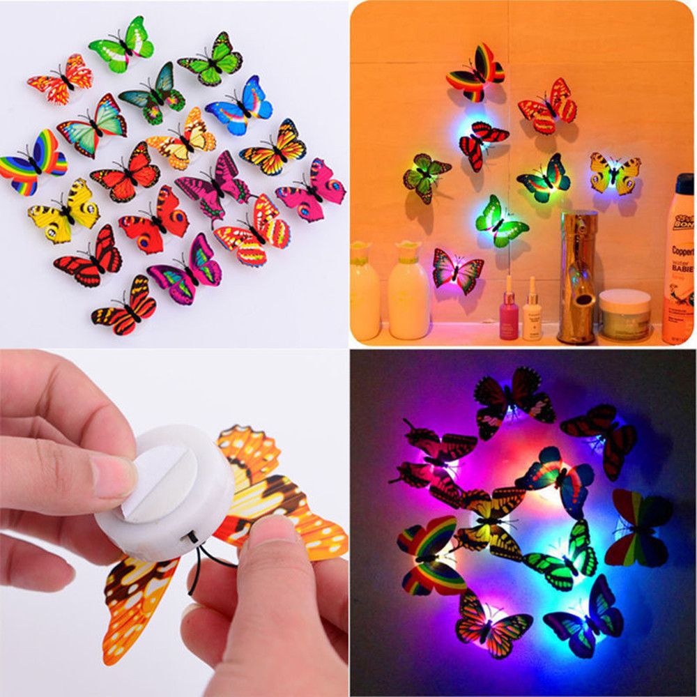 5pcs Lovely Butterfly LED Night Light Color Changing Light Lamp Beautiful Home Decorative Wall Nightlights For Kids Living Room
