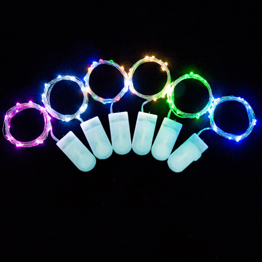 Hanmiao 2pcs/Lot 10/20/30 Led String Light Silver Wire Led Garland On Batteries Cake Flower Bottle Gift Decorative Led Lights 39