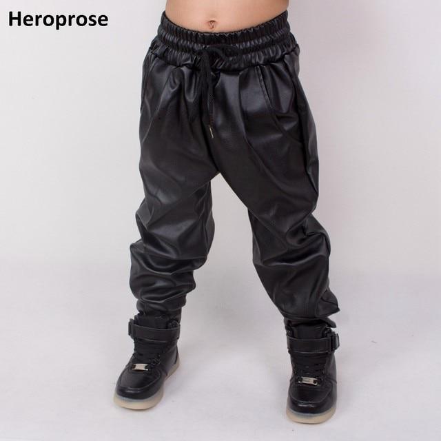 Heroprose ファッション子供服キッズ大人ヒップホップバギーサルズボン PU フェイクレザープリーツダンススキニーパンツ