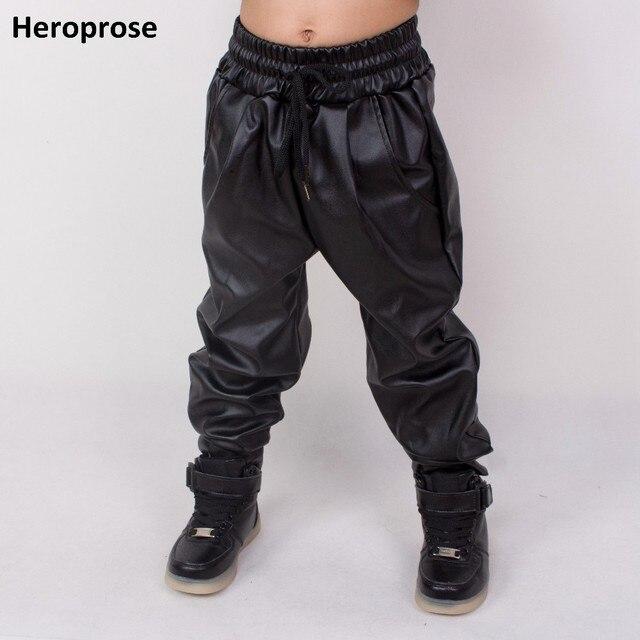 Heroprose แฟชั่นเสื้อผ้าเด็กเสื้อผ้าเด็กผู้ใหญ่ hip hop baggy harem กางเกง PU หนัง Faux ด้านหน้าจีบเต้นรำกางเกงผอม