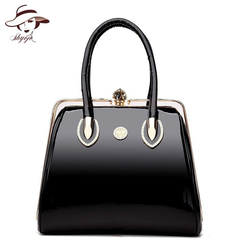 Luxury Handbags Vintage Soft Patent Leather Women Bags Fashi