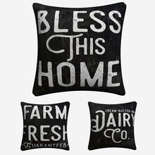 Kitchen Farmhouse Printable Quote Decorative Cotton Linen Cushion Cover 45x45 cm For Sofa Chair Pillowcase Home Decor Almofada цены