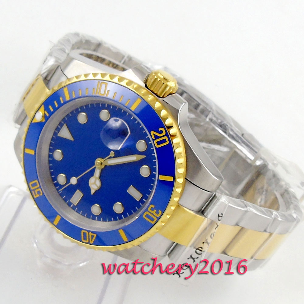 40mm bliger blue dial golden plated Luminous Marks Mens simple Sapphire glass Automatic movement Mechanical Mens Wristwatches40mm bliger blue dial golden plated Luminous Marks Mens simple Sapphire glass Automatic movement Mechanical Mens Wristwatches