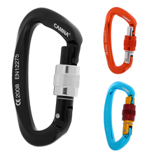 25KN D Shaped Screw Lock Rock Climbing Carabiner Clip Rappelling Rescue Caving Gear - CE Approved