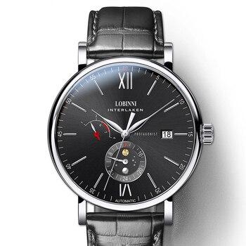 LOBINNI Schweiz Luxus Marke Männer Uhren Automatische Mechanische Bewegung herren Uhr Sapphire Echtem Leder relogio L6860-4