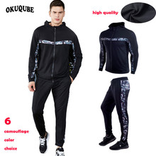 Camouflage Hooded Men Running Set Long Sleeve Fitness Clothing Winter Sport Suit Breathable Gym Clothing High Elastic Sportswear