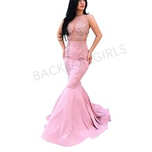 2019 Pink Mermaid Evening Dresses Long Arabic Applique