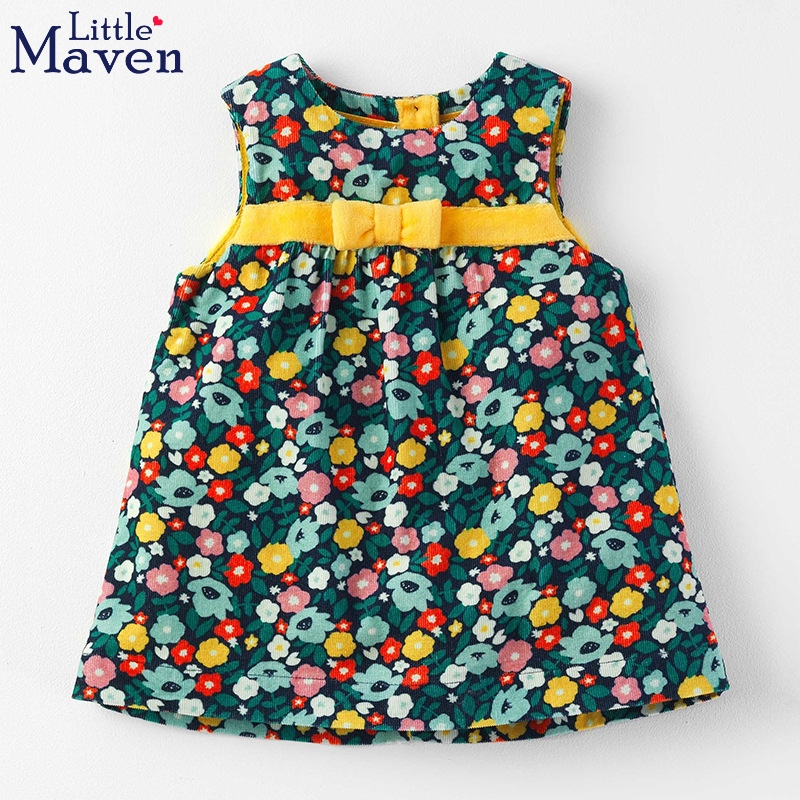 Little Maven fashion girls kids jumper dresses floral bow decoration baby kids fall dress children's sundress for Euro and USA