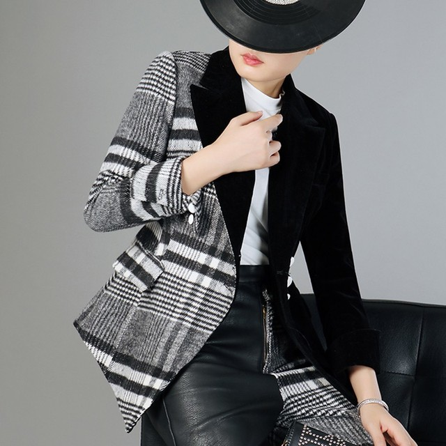 TWOTWINSTYLE Velour Patchwork Wool Plaid Blazer Coat Female Long Sleeve Asymmetrical Women's Suits 2020 Spring Fashion Clothes
