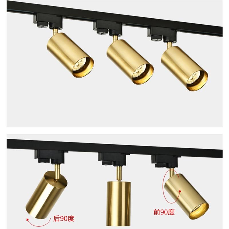 hot sale online 14e90 ace83 Golden Track Light Rail Spotlights 110V 220V Coffee Cloth Shop Art Gallary  Picture Mirror Lighting Adjustable Ceiling Spot Light
