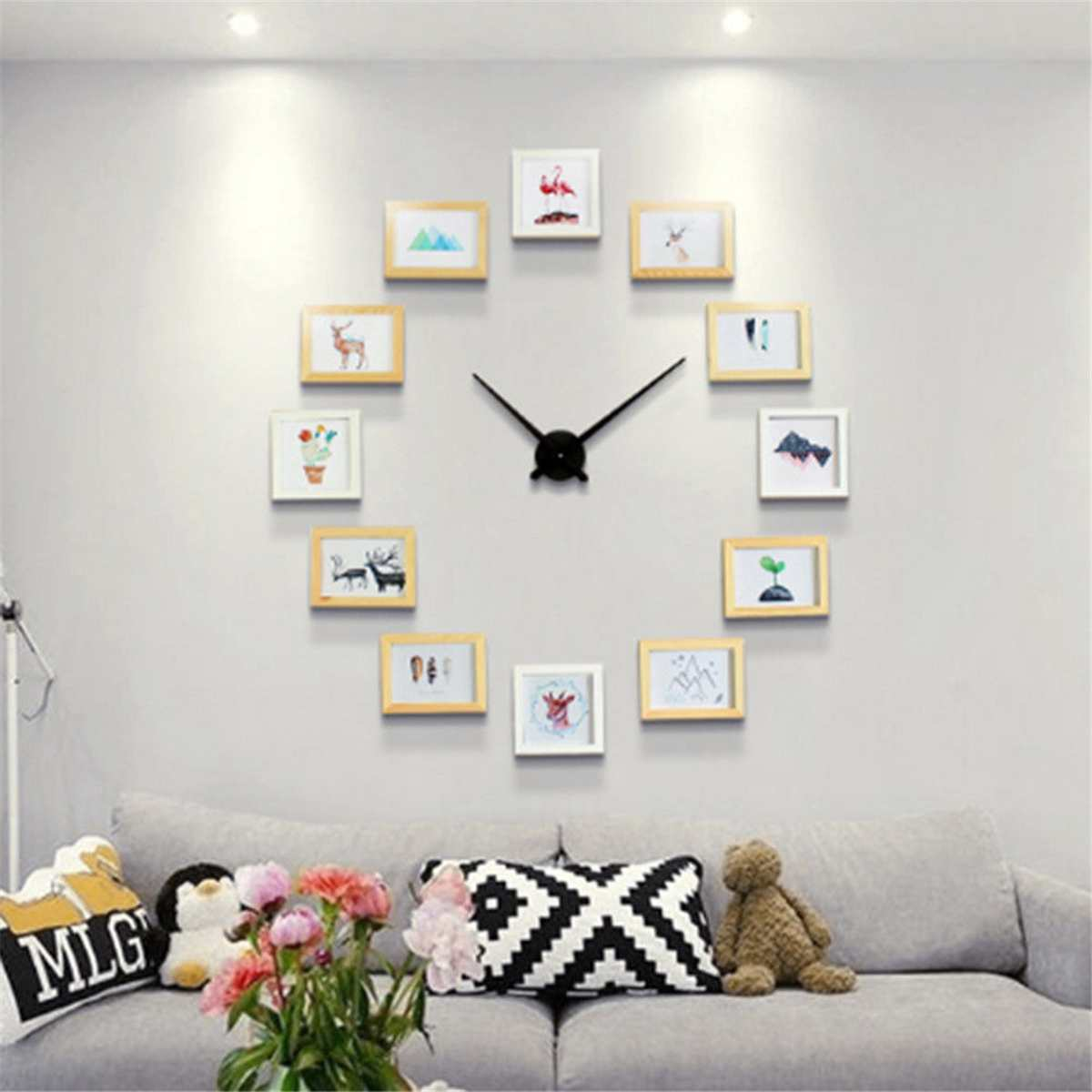 2019 new diy wall clock modern design diy photo frame. Black Bedroom Furniture Sets. Home Design Ideas