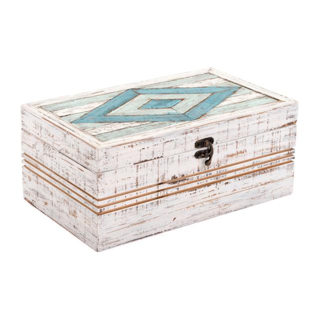 Wood Rombo Rectangular Box, In White