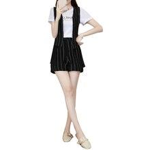 women vest T shirt shorts suit Korean fashion chiffon top 2019 summer new casual stripe three-piece clothing set size S-XL