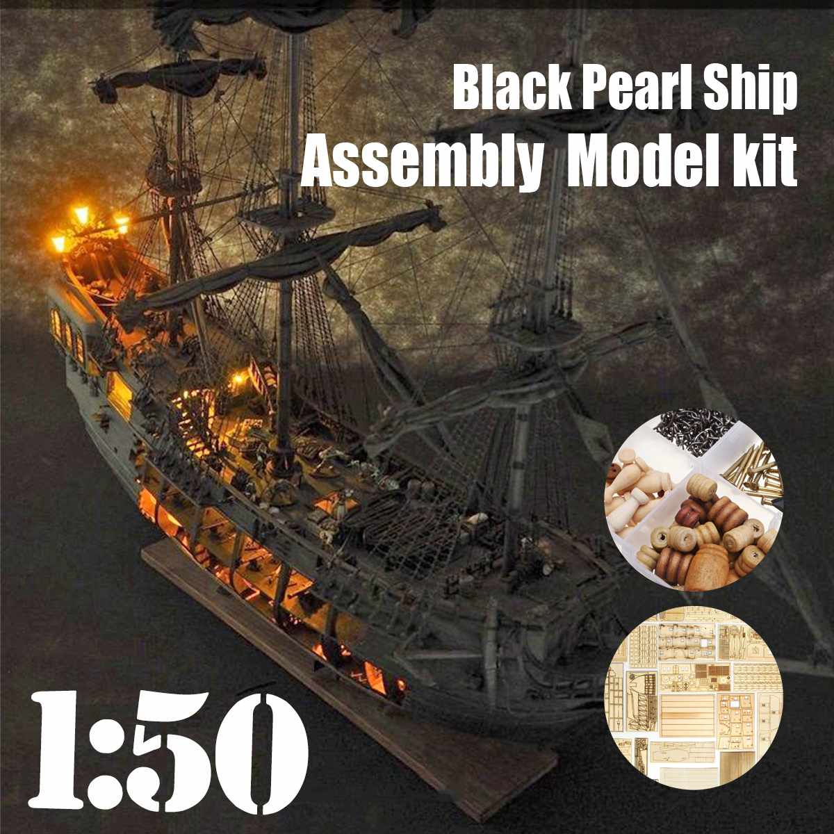 1:50 DIY The Black Pearl Model Ship Kits For Gift For Pirates Of The Caribbean Diy Set Kits Assembly Boat Toys Merry Christmas