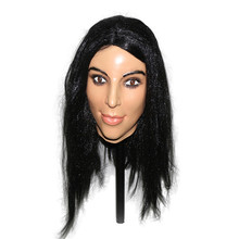 2019 Hot Selling High Quality Fetish Rubber Woman Mask Realistic Cross Dress Halloween Party Latex Young Lady