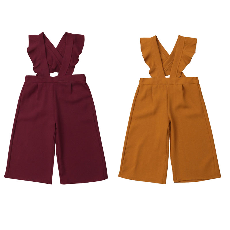 1-6Y Toddler Kids Baby Girl Ruffles Sleeveless Wide Leg Bib Pant   Romper   Jumpsuit Outfits Fashion Girls Clothes