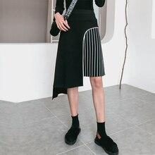 [EWQ] новый узор 2019 весна лето асимметричный пэчворк в полоску, с высокой талией уличная Skrit Женская мода Tide AD99601