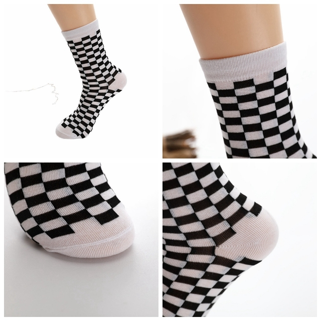 Unisex Checkered Cotton Socks