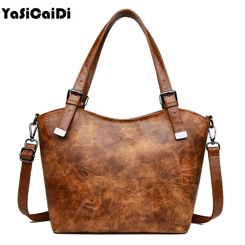YASICAIDI Women PU Leather Handbags Large Capacity Female Bag High Quality Casual Female Tote Bags Luxury Handbag Women Bag yasicaidi fashion women leather handbags large capacity tote bag black oil leather shoulder bag crossbody bags for women handbag