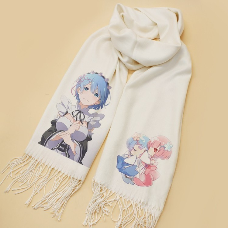 Anime Re: Zero Starting Life Rem Scarf Cosplay Soft White Warm Cute Winter Scarf Shawl Fashion New CHRISTMAS Gifts