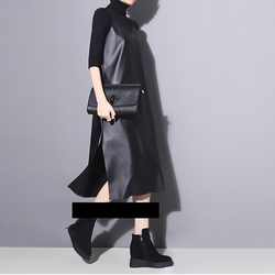 [EAM] 2019 New Spring Summer Strapless Sleeveless Black Pu Leather Loose Brief Dress Women Fashion Tide All-match JO287 4