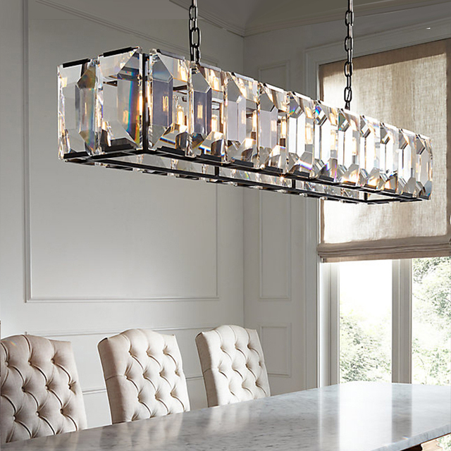 Rectangulaire Grande Lampe De Lustre En Cristal Pour Restaurant Café  éclairage Salon Longue Barre De Cristal