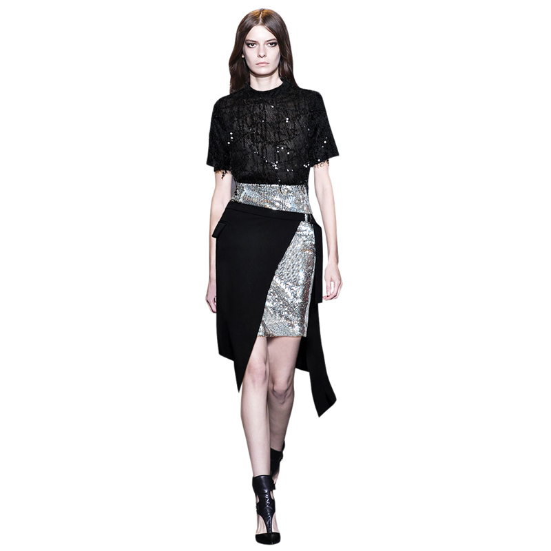 two pieces women outfit sets runway clothing short sleeves tassel blouse black sequin top shiny clothes