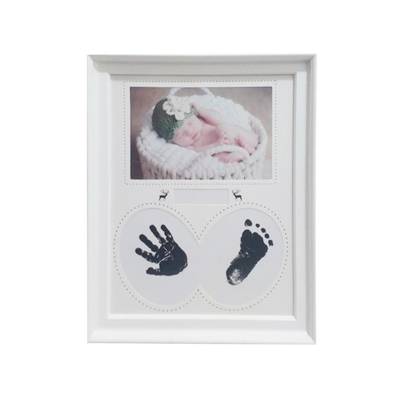 Baby Souvenirs Baby Handprint Footprint Photo Frame Kit For Newborn Boys Full Moon 100 Days Gift