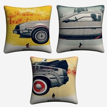 Back To The Future Time Machine Decorative Cotton Linen Cushion Cover For Sofa 45x45cm Home Decor Throw Pillow Case Almofada цена