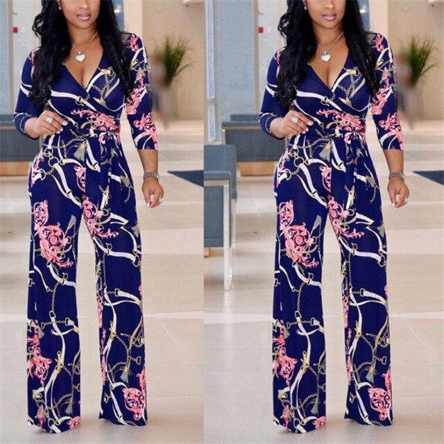 Plus Size Womens V-Neck Long Sleeve Jumpsuit arrival Ladies Autumn Clubwear Floral Print Playsuit Party Jumpsuit Long Trousers 3
