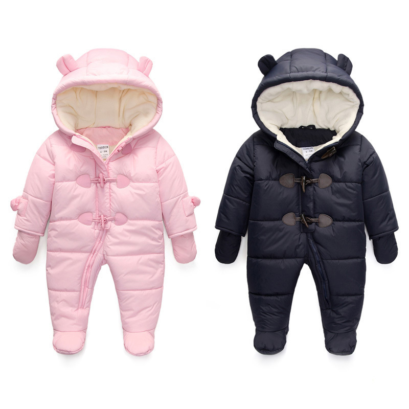 bf6b63cd8e77 Girls Snowsuit Newborn Baby Boy Winter Rompers Clothes Children Girl  Jumpsuit Kids Duck Down Cotton Overalls Hoodies Clothing-in Snow Wear from  Mother ...