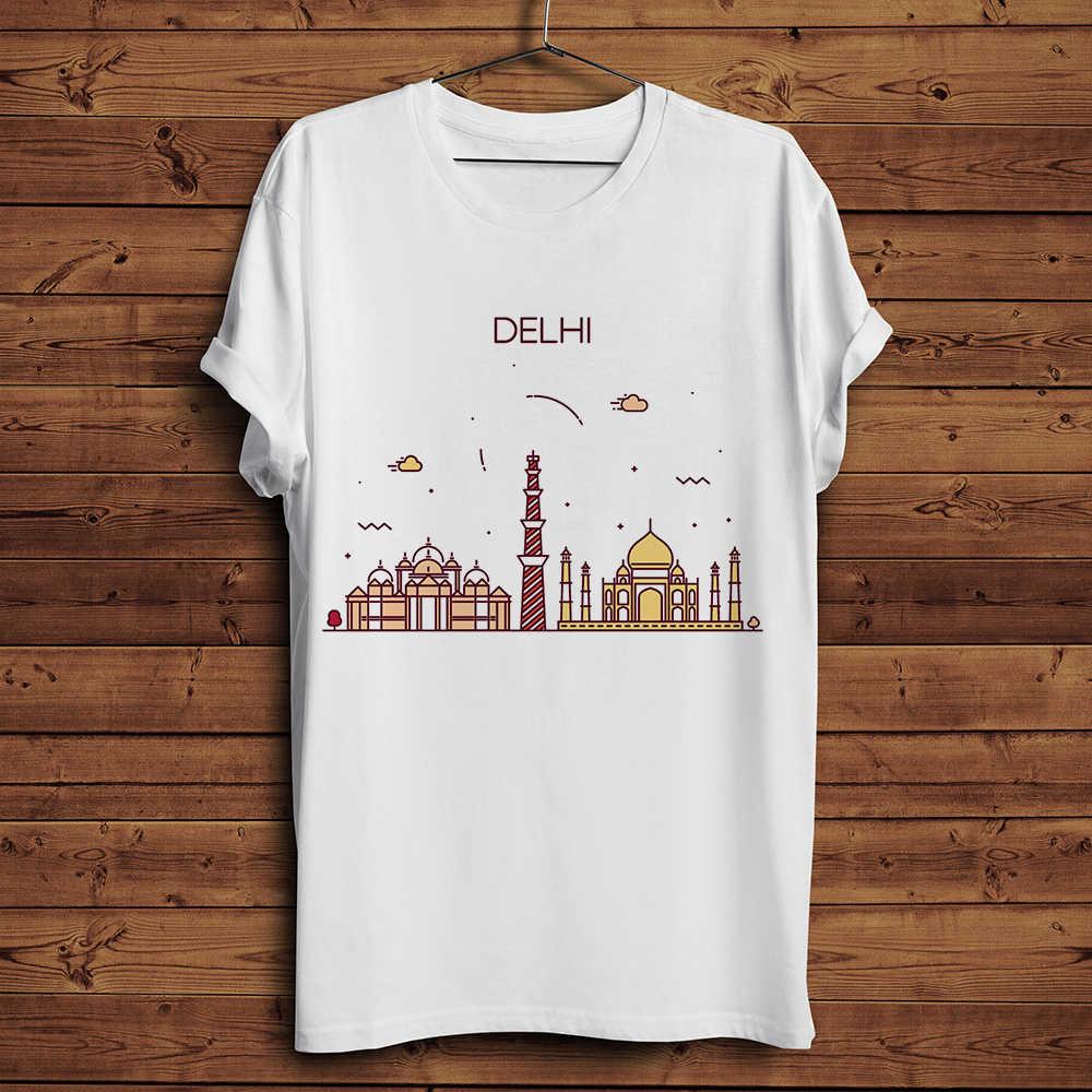 India City skyline and landmark funny t shirt men 2019 summer new white casual homme cool Mumbai Dehli symbol t-shirt