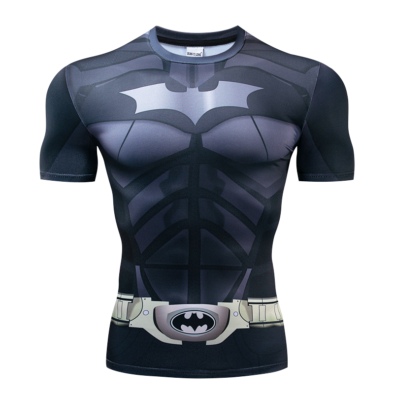 Batman 3D Print T Shirts Men Compression Fitness Shirts Superhero Tops Costume Short Sleeve Fitness T-shirts