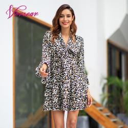 Versear Women Leopard Print Dress Sexy V Neck Bow Tie Long Flare Sleeve Spliced Ruffle Party Mini Dress Autumn OL Fashion Dress 8