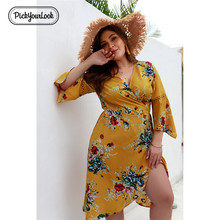 Pickyourlook Floral Women Dress Plus Size Autumn Summer Beach Female Midi Dress 3/4 Bohemian Casual Party Print Lady Robe Femme pickyourlook lace women dress large size autumn 3 4 sleeve denim lady midi dress button belted blue turn down collar robe femme