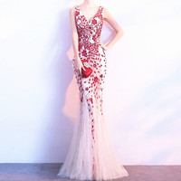 Embroidery Sequined Voile 2019 new Women's elegant long gown party proms for gratuating date ceremony gala evenings dresses