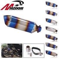 Universal 51MM Motorcycle Burning blue Exhaust Pipe With DB Killer Muffler MotorBike Escape Pipe For Yamaha Honda KTM Kawasaki