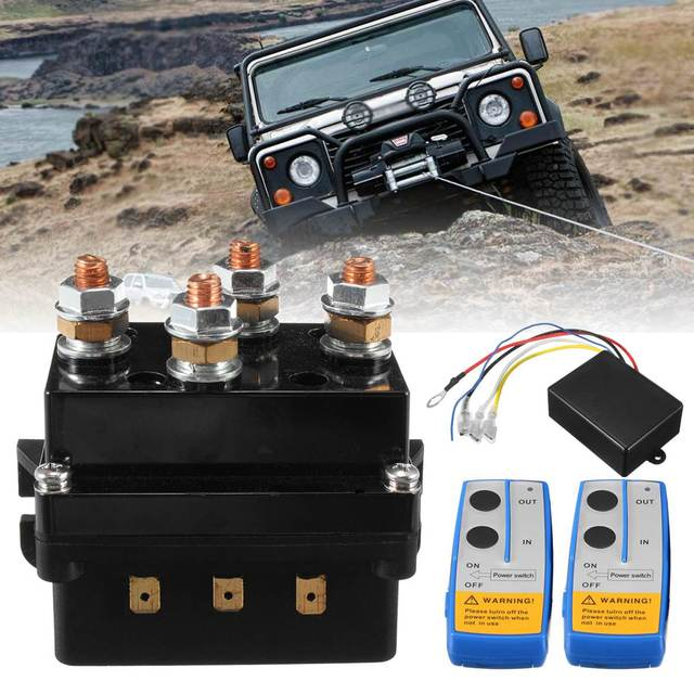 Universal Solenoid Twin Wireless Remote Control Controller Recovery 4x4 12V 500Amp HD Contactor Winch Control