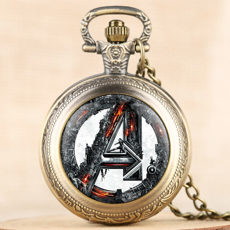 Avengers Age Of Ultron Retro Quartz Pocket Watch Necklace Pendant Chain Fob Watch Hours Gifts For Men Women Fans Collectibles