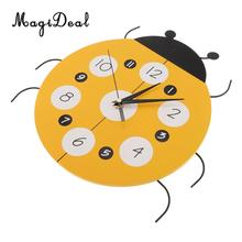 MagiDeal Home Decorative Ladybug Clock Time Watch Kids Room Decor Easy Read Silent Quartz 12 Hour Display for Girls Boys