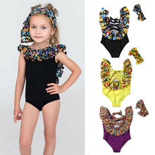 PUDCOCO Toddler Kids Baby Girls  Floral Print Swimwear Set Swimsuit Bathing Suit Beach Headband