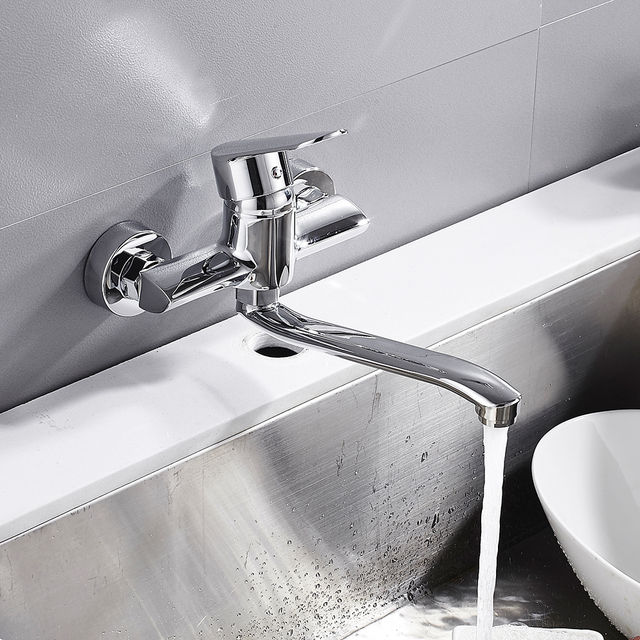 Wall Mounted Kitchen Faucet Wall Mixers Kitchen Sink Tap Copper Rotate Basin Hot Cold Water Mixer Tap Sink Faucet