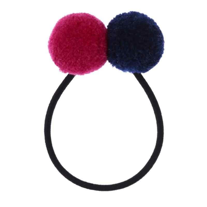 Niños Niñas doble Pom bolas cola lazos cuerdas cinta elástica pelo Clip lazo flor Barrettes para fiesta de niñas los niños horquillas