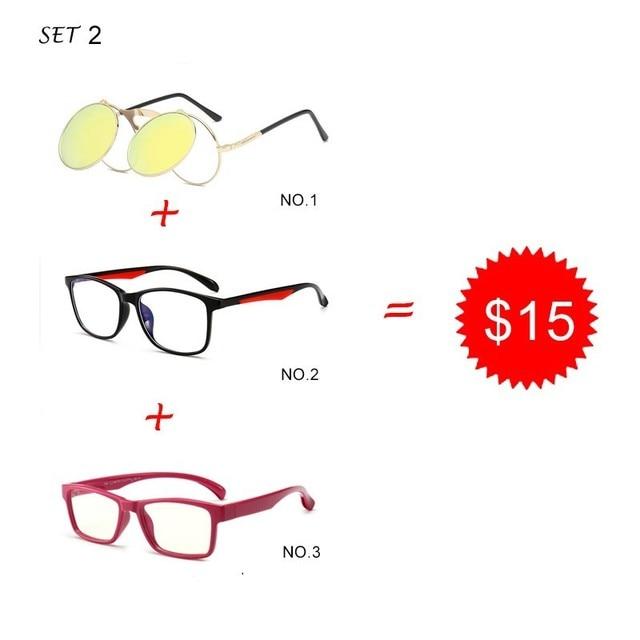 0f0711f65063 Trend Square glasses Men Flip Up Clip Sunglasses Women Fashion decoration  Glasses 3 Pieces Combination 15