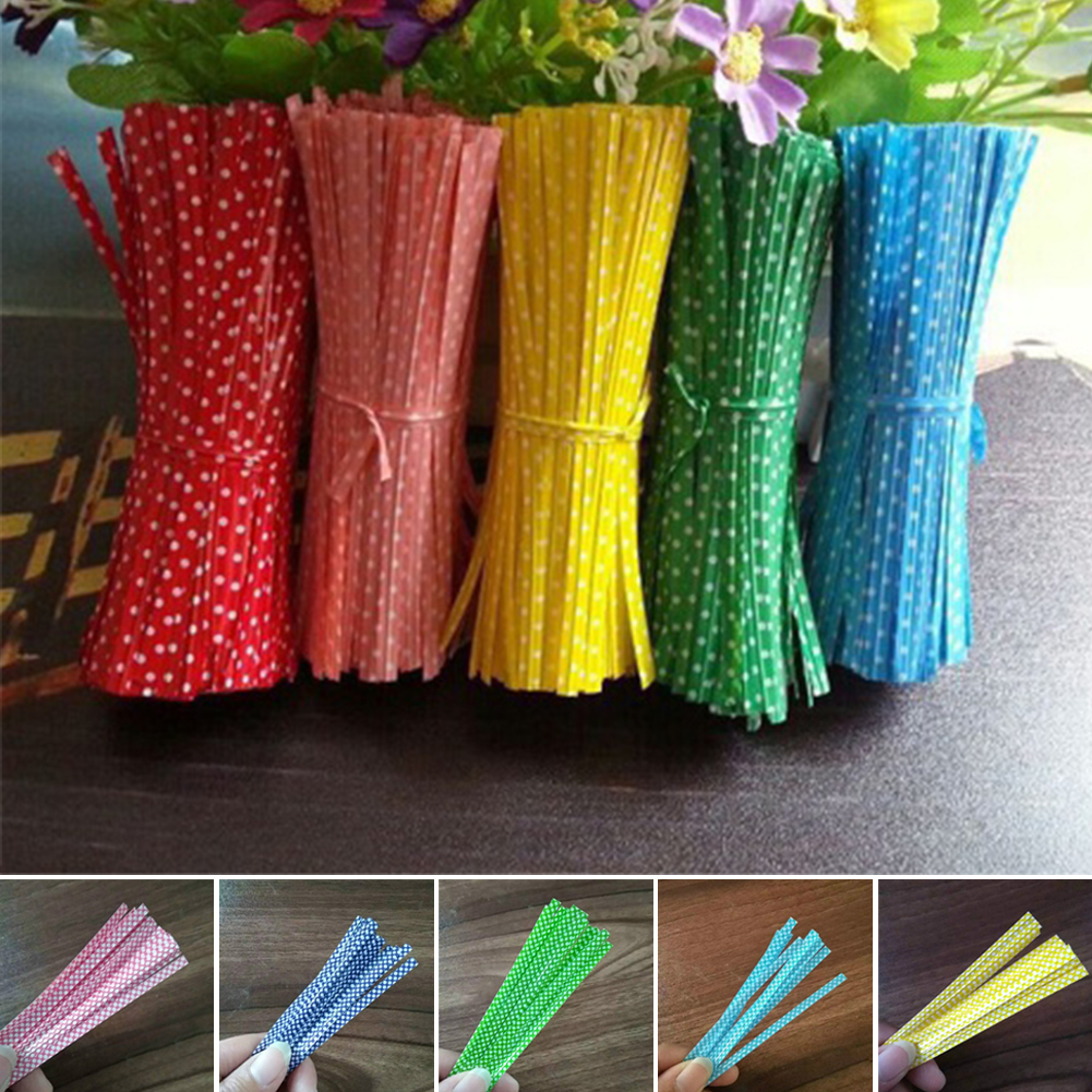 100PCS/Bag Colorful Dots Gifts Packing Twist Ties Wire Bag Fasteners Sealing Cake Bag Fastening Pops Ornament For Wedding Xmas