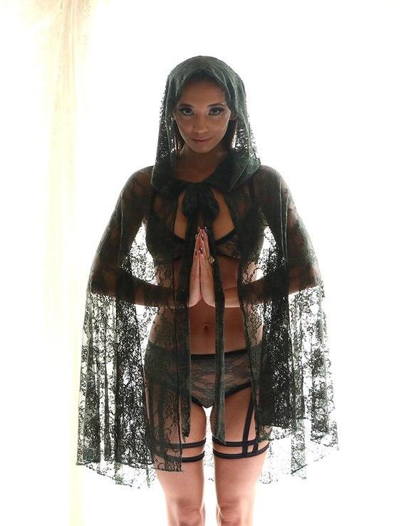 Hooded Cloak / Cape - Sheer Lingerie - Kimono Robe - See Through Lingerie - Kimono - Robe - Lace Clothing - Cloak