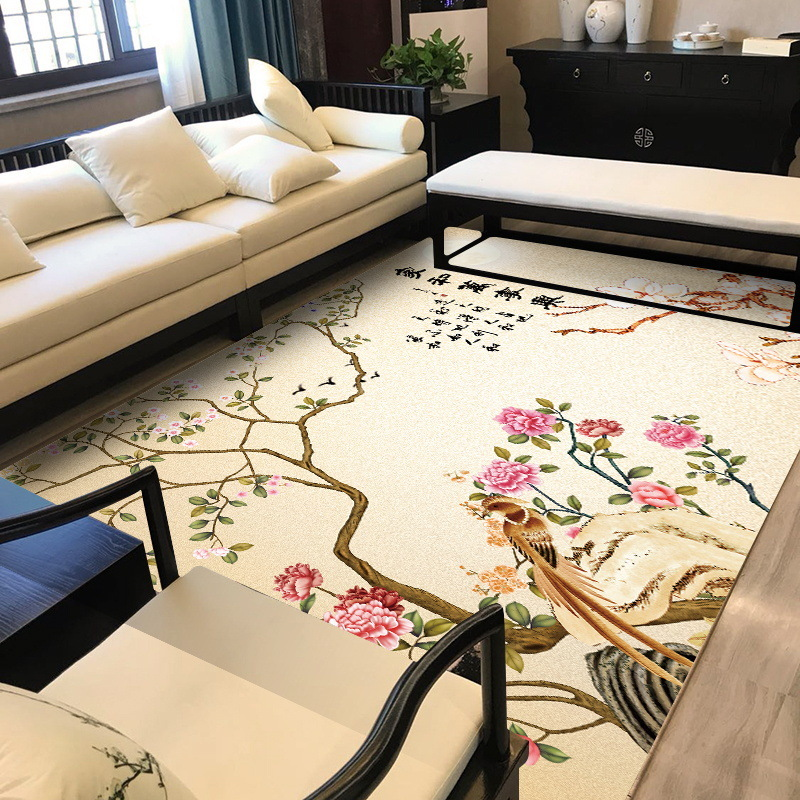 Traditional Chinese Style Plum Flower Pattter Carpets Rugs For Bedroom Home Living Room Non-slip Kitchen Door Mat Alfombra