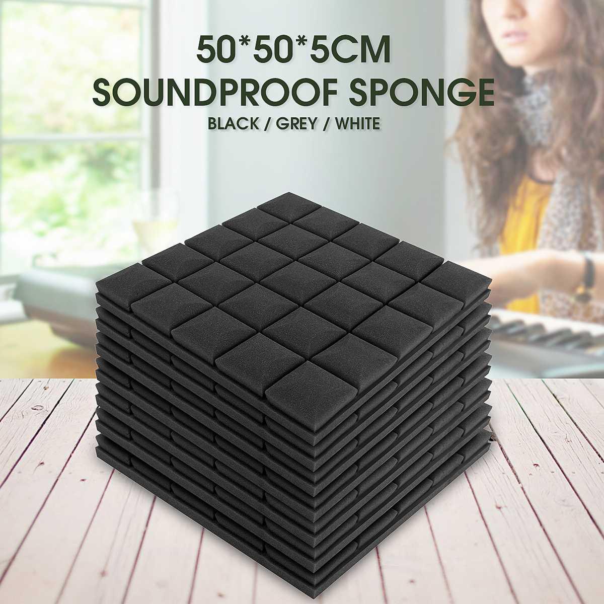5 Pcs 500x500x50mm Soundproof Foam Acoustic Sound Stop Absorption Sponge Drum Room Accessories Wedge Tiles Polyurethane Foam