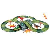 157pcs DIY Assembly Car Track Dinosaur Model with Flash Light Educational Toys Birthday Gift for Children Kids Toddler